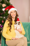 Christmans party, winter holidays woman with gift box. New year Stock Photo