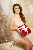 Christmans party, winter holidays woman with gift box. New year Royalty Free Stock Photo