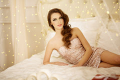 Christmans party, winter holidays woman with gift box. New year Royalty Free Stock Images