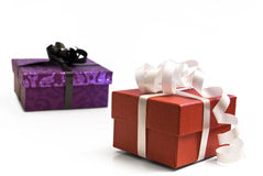 Christmans presents red and purple Stock Images