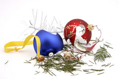 After Christmas. Destroyed remains of glass balls and different Christmas ornaments Royalty Free Stock Image