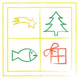 Christmas. Symbols in the window (tree, fish, gift, comet Royalty Free Stock Photography