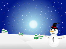 Christmas. Illustration of a snowman in a white landscape Royalty Free Stock Photos
