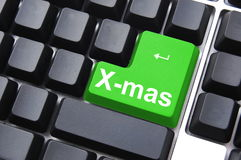 Christmas. Xmas or christmas holiday enter key from computer keyboard Royalty Free Stock Images