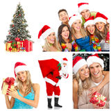 Christmas. Young happy people near the Christmas tree. Isolated over white background