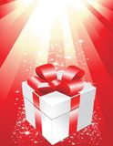 Christmas. Vector illustration of a gift box with shiny background Royalty Free Stock Images