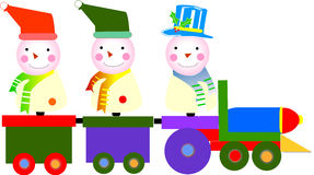 Christmas. Train with cute teddy's Royalty Free Stock Images