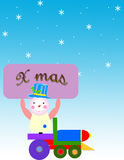 Christmas. Banner with teddy and snowflakes Stock Image