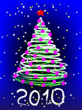 Christmas,. Abstract Christmas tree on the blue background. Vector Stock Photography