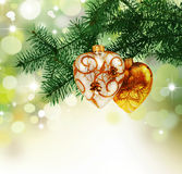 Christmas. Beautiful Christmas Decoration Border.Isolated on white stock images