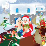 Christmas. Santa Claus and sledge with presents. Vector illustration Stock Images