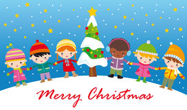 Christmas. Happy children and tree at christmas night stock illustration