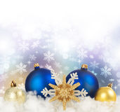 Christmas. Beautiful Christmas Decoration border.With copy-space.Isoated on white royalty free stock photo