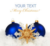 Christmas. Beautiful Christmas Decoration.With copy-space.Isolated on white royalty free stock photos