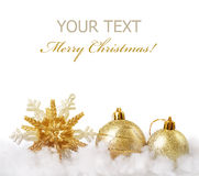 Christmas. Beautiful golden Christmas Decoration.With copy-space stock photos