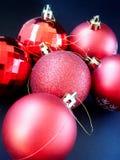 Christmas. Red Christmas balls on black background Stock Image