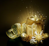 Christmas. Beautiful Magical Christmas Gift.With copy-space royalty free stock photography
