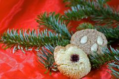 Christmas. Decoration in red and green with homemade cookies Stock Photo
