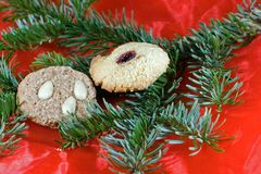 Christmas. Decoration in red and green with homemade cookies Stock Photography