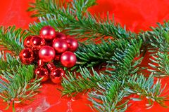 Christmas. Decoration in red and green with red  balls Stock Image