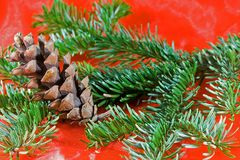 Christmas. Decoration in red and green with pine cone Royalty Free Stock Image