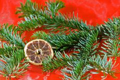 Christmas. Decoration in red and green with dried orange slice Stock Photography