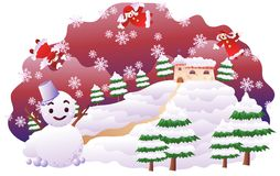 Christmas. Landscape-  night scene with house and  tree Stock Images