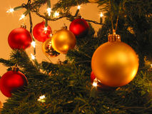 Christmas. Tree with Balls and Lights Royalty Free Stock Photos