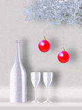 Christmas. Still-life for a two in love. Two glasses for a two. Romantic and celebratory environment Royalty Free Stock Photos