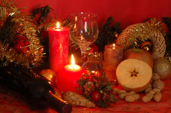 Christmas. Decorations and candles in still life Royalty Free Stock Photos