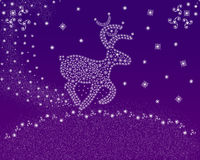 Christmas. Vector decorative christmas magic deer on a violet  background Stock Photography