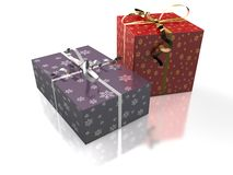 Christmas. 3D-modelled gifts representing notions such as christmas, birthday, festive season, consumerism and celebration of an event Stock Images