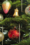Christmas. A variety of colorful decorations on Christmas tree royalty free stock photos