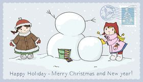 Christmas_2. Winter card for Christmas with children stock illustration