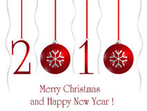 Christmas and 2010 New year card. 2010 New Year card with Christmas red balls on white background Royalty Free Stock Images