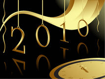 Christmas and 2010 New year card. 2010 New Year card with midnight clock on black background stock illustration