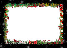 Christmas 2012 frame. Pine bough and berry frame on starry black for 2012 Christmas Royalty Free Stock Photography