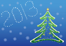 Christmas 2013 background. Christmas 2013 vector background with christmas tree and snowflakes stock illustration