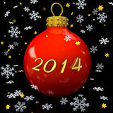 Christmas 2014. Text 2014 with christmas bauble, snowflakes and stars on the white background Royalty Free Stock Images