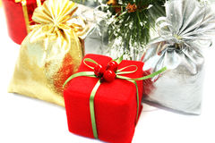 Christmas. Present boxes on white background Stock Images