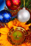Christmas. Original concept with sunflower-clock Stock Photography