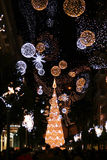 Christmas. The beautiful decoration and the high christmas tree at salerno in italy.december 2010 stock photography