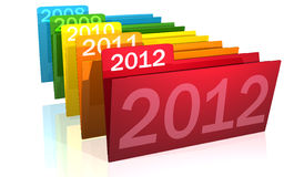 Christmas. Illustration of numbers of new year 2012 with reflections on a blue bottom Royalty Free Stock Image