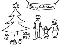 Christmas. Happy family: mother, father and child. Christmas at home - Christmas tree and gifts. Child-like illustration Royalty Free Stock Image