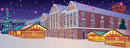 Christmas. Vector illustration of Town place at Christmas stock illustration