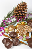 Christmas. Sy mood with gingerbread and  decoration Stock Photography