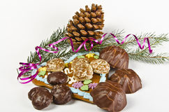 Christmas. Sy mood with gingerbread and  decoration Royalty Free Stock Photo