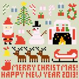 Christmas. Multiple icons for Christmas theme in pixel art style Stock Illustration