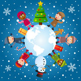 And So This Is Christmas. A group of six multicultural kids around the world with Christmas tree, snowman and gifts. Eps file available Royalty Free Stock Image