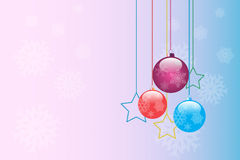 Christmas. Good-looking Christmas backdrop with three balls and stars Royalty Free Stock Image